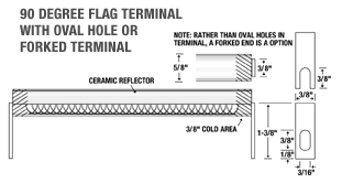90 Degree Flag Terminal with Oval Hole or Forked Terminal