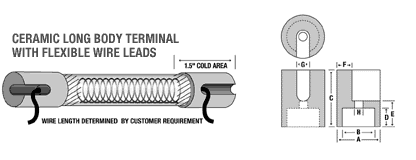 Ceramic Long Body Terminal with Flexible Wire Leads
